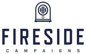 Fireside campaigns logo in navy